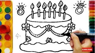 Learning Colors for Kids by Drawing Cake, Coloring Pages Fruits Funny