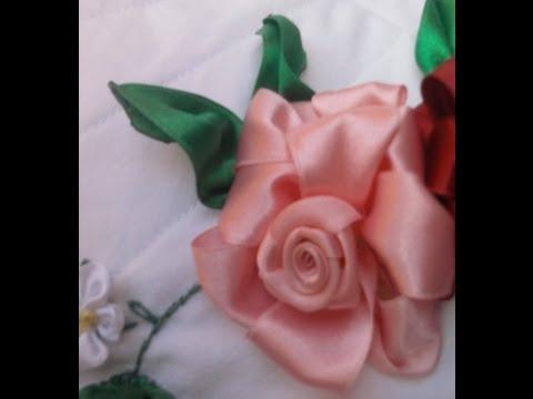 Flores de Cetim Rosa Parte 1 Passo a Passo