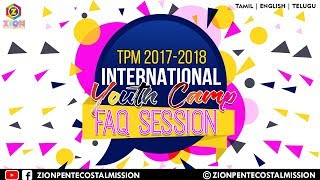 TPM Messages | FAQ Session | 25 Saturday | Morning | International Youth Camp 2017 | Live Messages