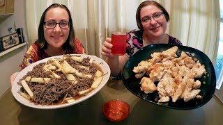 Turkey Breast, Black Bean Spaghetti And Kombucha   Gay Family Mukbang (먹방) - Eating Show