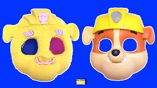 Making PAW PATROL RUBBLE w/ Kinetic Sand, PEZ, Slime, Mask, Surprise Toy Games - LEARN COLORS