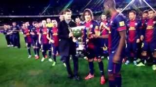 Alex Song and the La Liga Trophy Barcelona 2013 champions