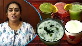 5 Healthy Summer drink / Cucumber mint juice / lemon mint juice / lassi  / watermelon / neer mor