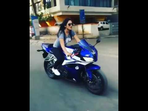 Girl riding superbikes in india  CBR 600R