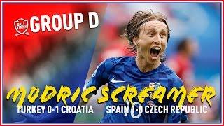 MODRIC WONDER GOAL AND PIQUE HEADER!   SPAIN 1-0 CZECH   TURKEY 0-1 CROATIA   GROUP D UPDATE