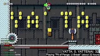 "Super Mario Maker - ""Pit of Panga: U-Break""  beaten on Twitch stream"