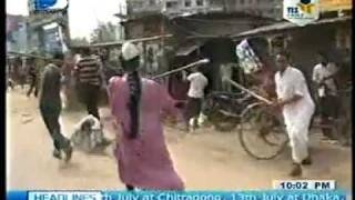 Bangladesh : Clash of Huzurs With Anti Hartal & Police In Hartal-Digonto TV-10- 07-2011
