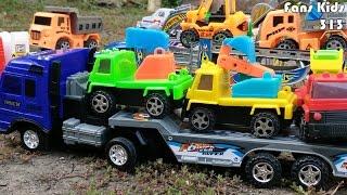 Banyak Kendaraan Mainan Diangkut Truk Trailer I Vidio For Children