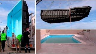 Instalación de piscina de fibra Coinpol modelo Diana 1