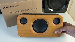Powerful Archeer 25W Bamboo Super BASS Bluetooth 2.1 Speaker System - 5200 mAH Battery