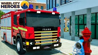 Water Tube Repaired by Fire Truck Frank, Dump Truck & Crane - Vehicles Cartoon by Wheel City Heroes