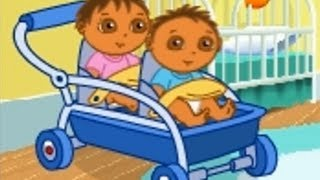 Dora the explorer - Movie game - Baby Sitter Playtime - Twins Play