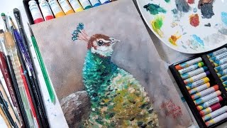 Beginner Oil Painting Tutorial // Peafowl in Water-mixable Oils (Acrylics can be used!)