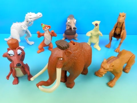 2009 ICE AGE 3 DAWN OF THE DINOSAURS SET OF 8 McDONALD S HAPPY MEAL MOVIE TOYS VIDEO REVIEW