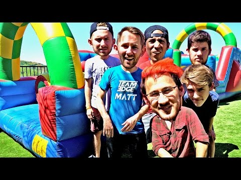 BOUNCE HOUSE OBSTACLE COURSE ft. Markiplier and Kids with Problems