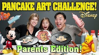PANCAKE ART CHALLENGE - PARENTS EDITION!!! DISNEY CHARACTERS!