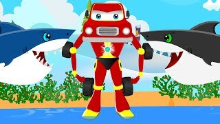 Scary Flying Shark vs Red Super Car | Kids Police Cars Cartoon Songs & Rhymes