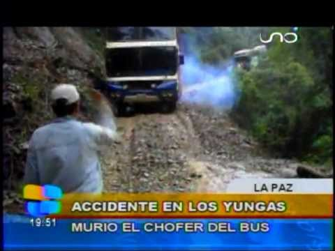 INCREIBLE CAMINO A YUNGAS Bus se embarranca y es filmado en vivo