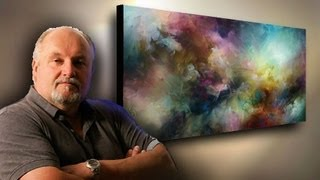 abstract art painting demo. depth & movement with simple blending & washes. Fun & Easy