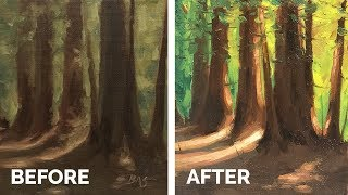 How to Paint a Forest with Strong Light - Oil Painting Tutorial