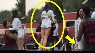 Oops ! Sidharth Malhotra EMBRASSED Aiyaary Actress Rakul Preet lifting her dress in Live Promotions