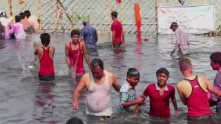 Open bath by Indian Women at Yamuna Ghat, New Delhi