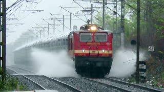 Trains In Heavy Rain : Water Blasts : Swaraj Express + Gujarat Express + NZM - Pune AC + CONCOR