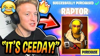 "Tfue BUYS & LOVES His *NEW* ""RAPTOR"" SKIN! (CEEDAY"