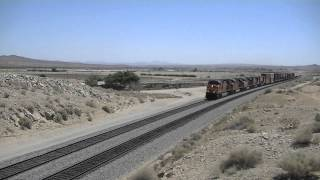 Hot Trains in a Hot Mojave Desert- BNSF Leads Amtrak #3, BNSF B40-8W's and More!
