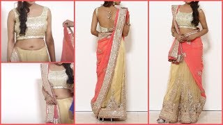 Stylist lehenga saree Draping | Gujrati style Saree Blouse wearing
