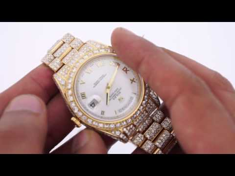 Rolex Day Date 2 President 41mm Watch Fully Iced Out Diamonds White Dial