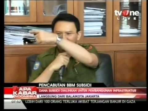 Ahok di Acara AKI Pagi TVONE tentang wacana pencabutan subsidi BBM Di Jakarta