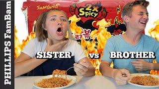 SPICY NOODLE CHALLENGE   OLDER BRO vs SIS   SAMYANG KOREAN NUCLEAR FIRE NOODLE CHALLENGE