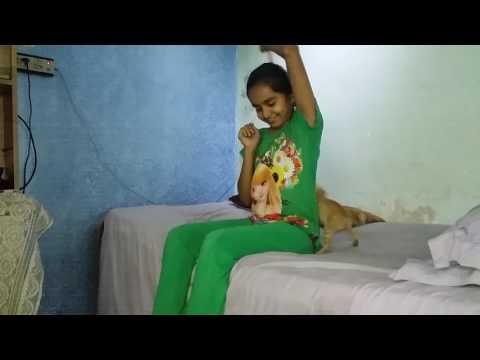 A girl enjoying with a kitten