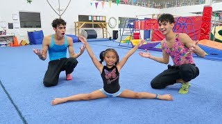 OUR LITTLE SISTER TEACHES US GYMNASTICS!