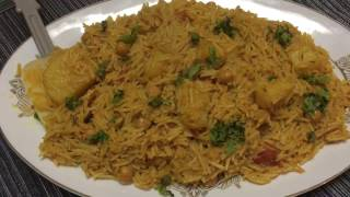 AALOO CHANNA PILAU - HOW TO MAKE POTATO CHICKPEAS RICE - CHANA PULAO- BIRYANI