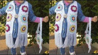 AFRİKA ÇİÇEĞİ İLE MOTİFLİ YELEK YAPIMI - Africa Blossom Motif Vest Making
