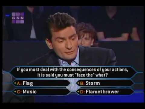 1 2 Charlie Sheen on celeb millionaire