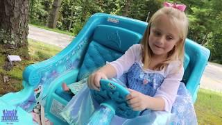 Frozen 2 Sleigh Ride On Power Wheels Toy Elsa Car Shopping Test Drive Disney Princess Carriage