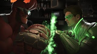 Injustice 2: Hellboy Vs Green Lantern Hal & John - All Intro/Outros, Clash Dialogues, Super Moves