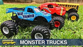Monster Trucks for Kids Hot Wheels Monster Jam Monster Truck Stunts Teaching Colors for Children