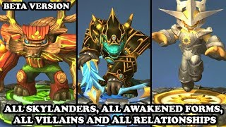 Skylanders Ring of Heroes - All Skylanders, All Awakened Forms, All Villains and All Relationships