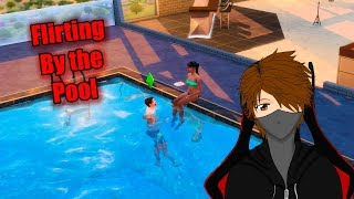 Let's Play The Sims 4 Get Famous EP60 Flirting by the pool