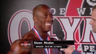 2018 MR.OLYMPIA SHAWN RHODEN POST WIN INTERVIEW