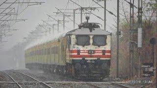 MONSOON MAGIC ! TRAIN THROUGH HEAVY & DRIZZLE RAIN