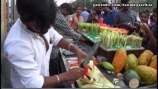 Fruit Ninja Of India (Ep 1) Amazing Fruit Cutting Skill, Marina Beach, Chennai | Indian Street Foods