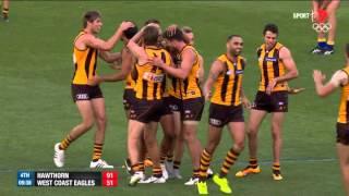 Gibson kicks his first goal as a Hawk - AFL
