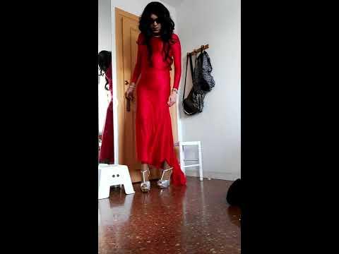 Xxx Mp4 Crossdresser Francis Espada With Wonderful Red Satin Dress And Silver Heels 3gp Sex