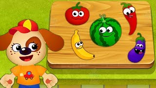 Kids Learn Colors Shapes Numbers with Funny Food Educational Cartoon Game