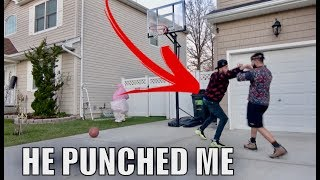 BACKYARD BASKETBALL GAME TURNS TO A FIGHT..